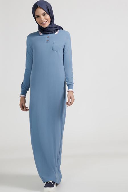 Benin Mavi Doğal Kumaşlı Düğme Detaylı Elbise