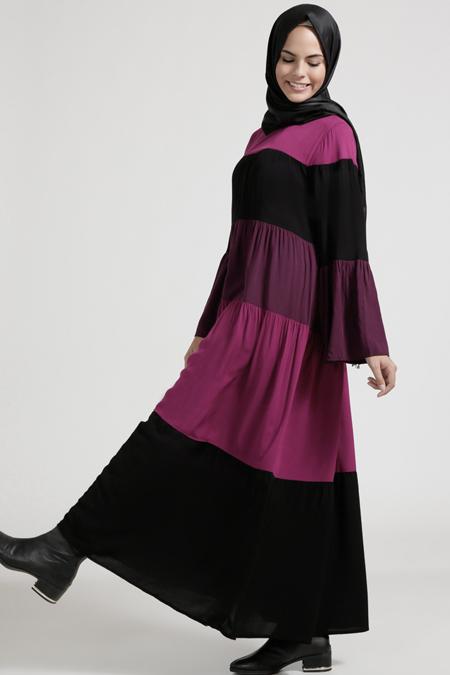 Benin Siyah Mürdüm Garnili Elbise