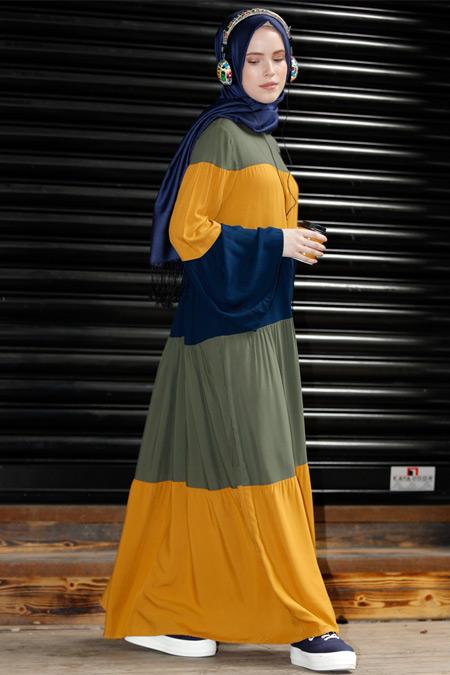 Benin Hardal Haki Garnili Elbise