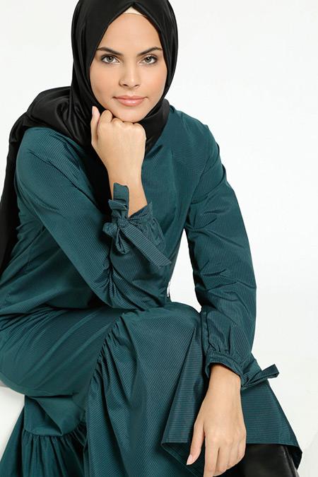 Benin Yeşil Çizgili Elbise