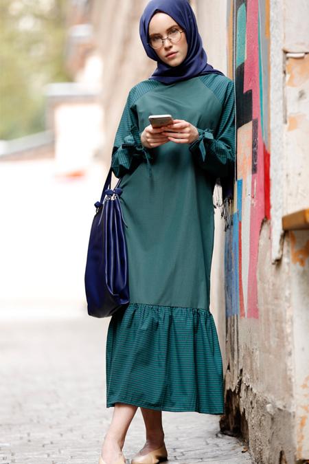 Benin Yeşil Pötikareli Elbise