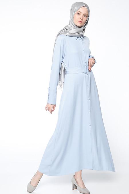 Bislife Bebe Mavi Düğmeli Elbise
