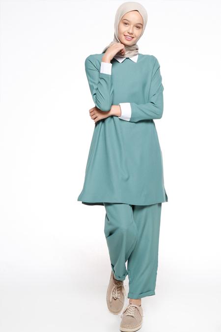 Bwest Çağla Yeşili Tunik & Pantolon İkili Takım