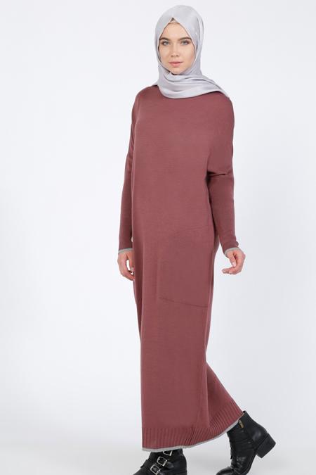Everyday Basic Açık Mürdüm Cepli Triko Elbise
