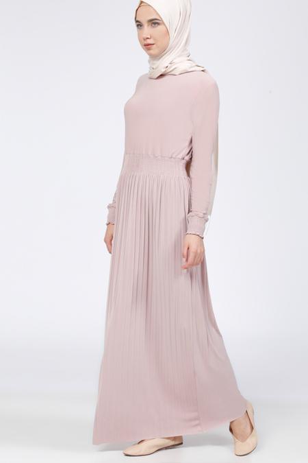 Everyday Basic Pudra Beli Lastikli Elbise