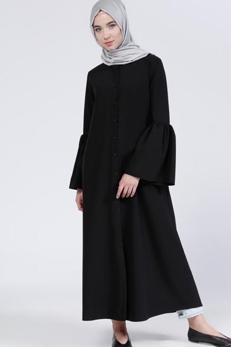 Everyday Basic Siyah Boydan Düğmeli Tunik