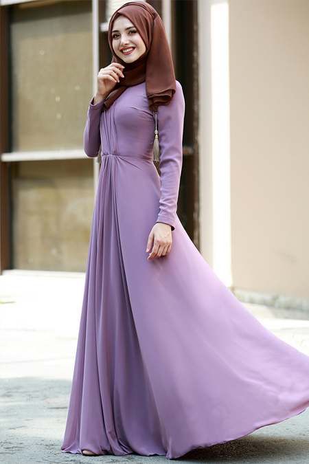 Gamze Özkul Koyu Lila Şifon Büzgülü Elbise