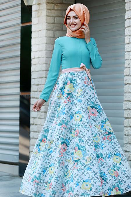Gamze Özkul Mint Flowers Yakma Elbise