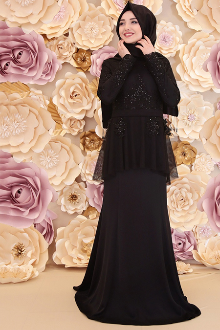 Gamze Özkul Siyah Rüya Abiye Elbise