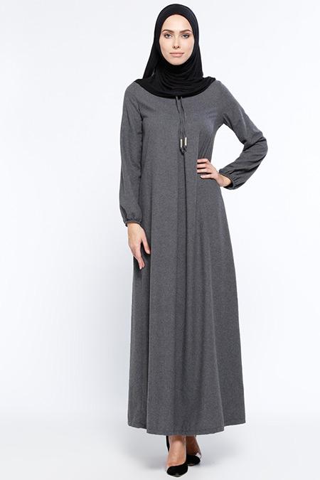 Ginezza Gri Yakası Bağcıklı Elbise