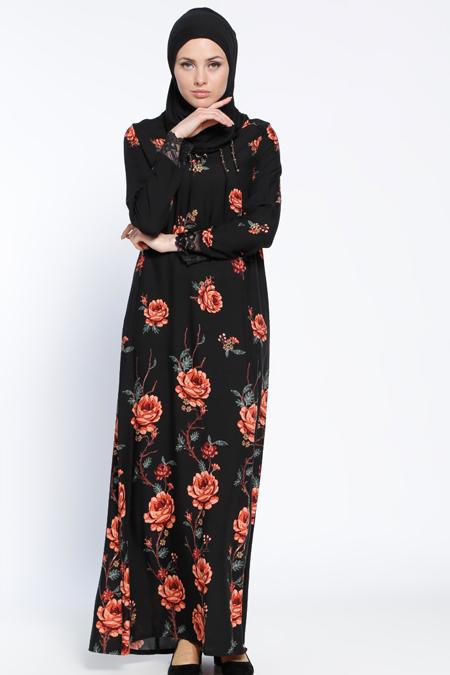 Ginezza Siyah Dantel Detaylı Elbise