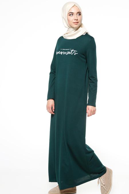 Ginezza Yeşil Baskılı Elbise