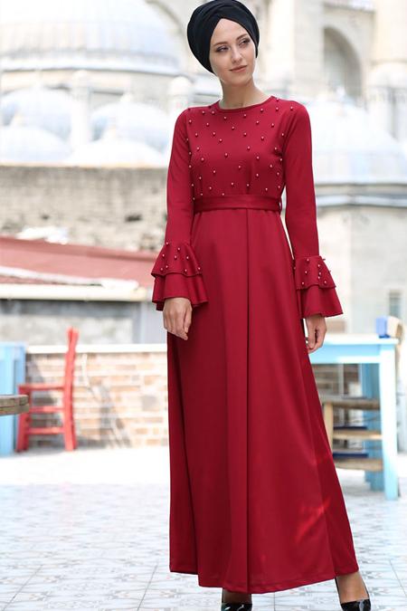 İnşirah Bordo İnci Detaylı Elbise