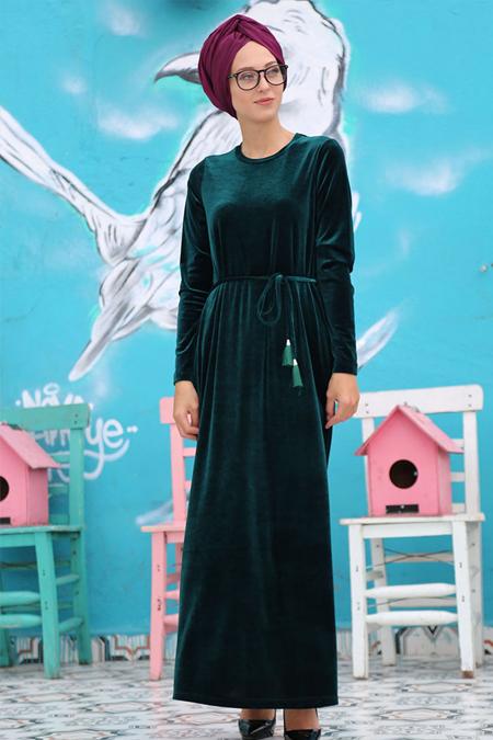 İnşirah Haki Kadife Elbise