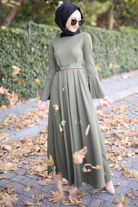 İnşirah Haki Nakış İşlemeli Elbise