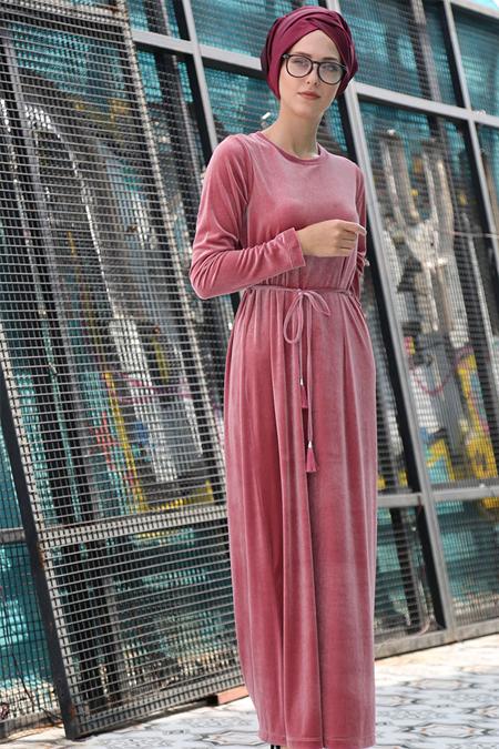 İnşirah Pudra Kadife Elbise