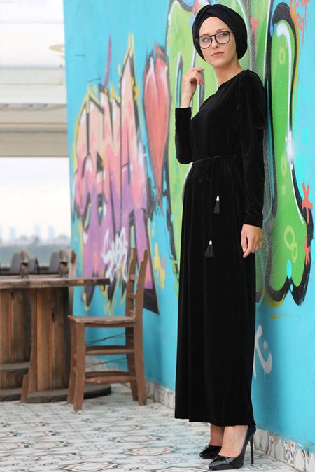 İnşirah Siyah Kadife Elbise