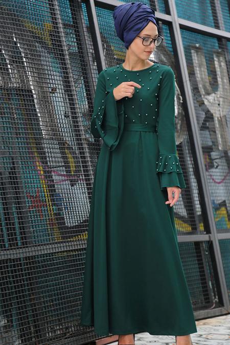 İnşirah Zümrüt İnci Detaylı Elbise