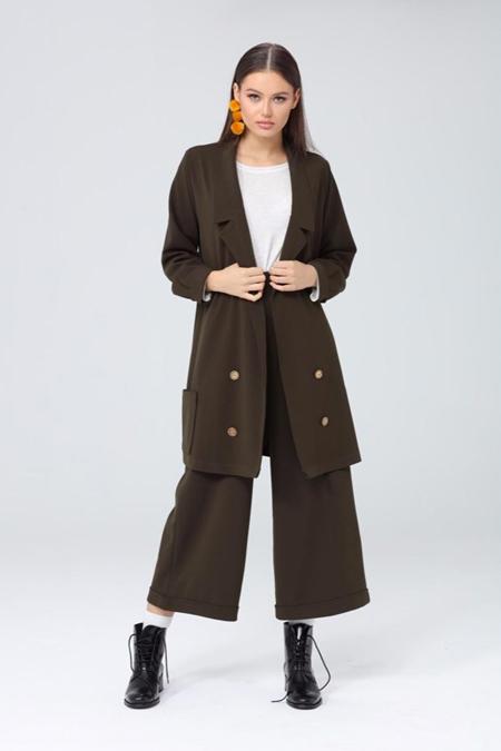 Kadriye Basturk Dügmeli Scuba Ceket Pantolon Takım