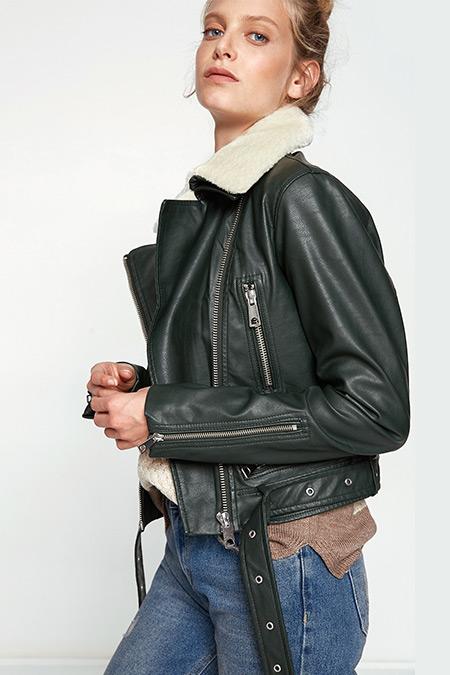 Koton Suni Kürk Yaka Deri Görünümlü Ceket