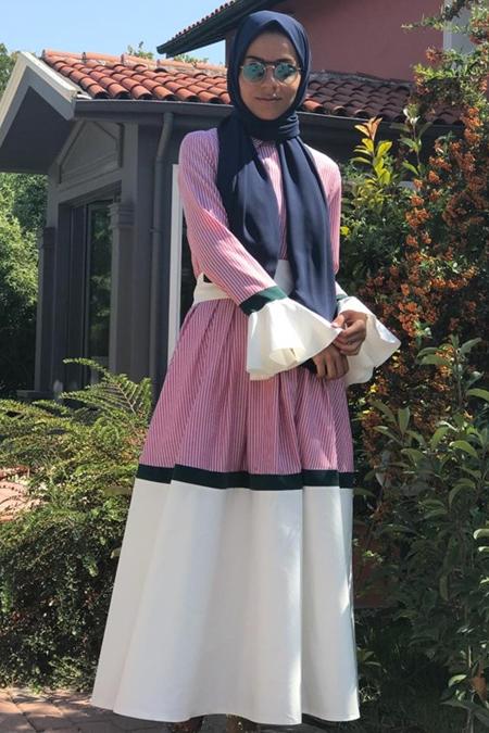 Lavinia Couture Volan Cizgili Elbise