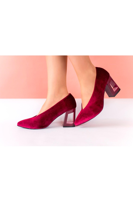 Marcatelli Bordo Kadife Topuklu Ayakkabı