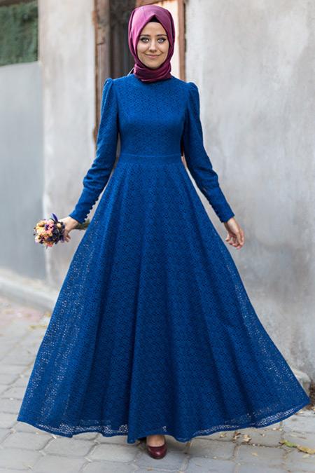 Mevra Mavi Dina Dantel Elbise