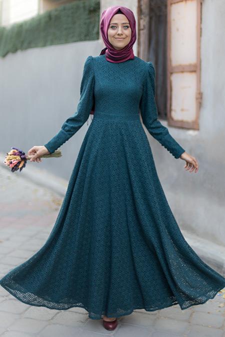 Mevra Yeşil Dina Dantel Elbise