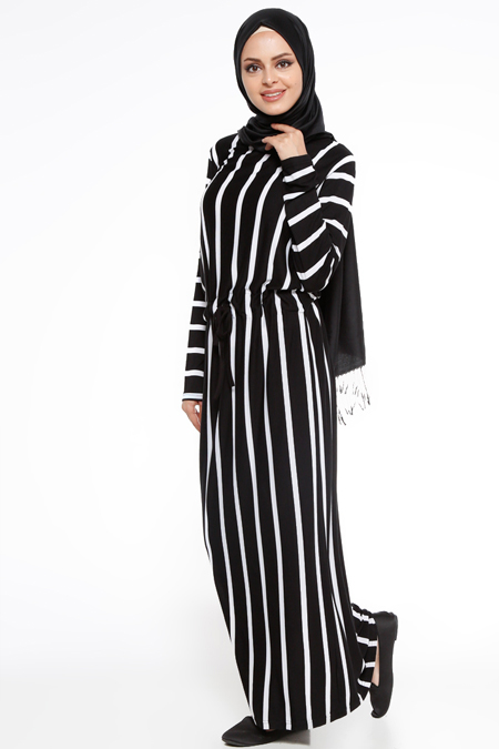Nupel Siyah Çizgili Elbise