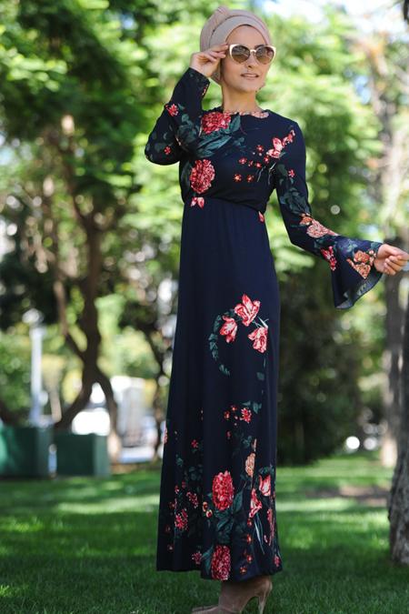 Nurgül Çakır Lacivert Eylül Elbise
