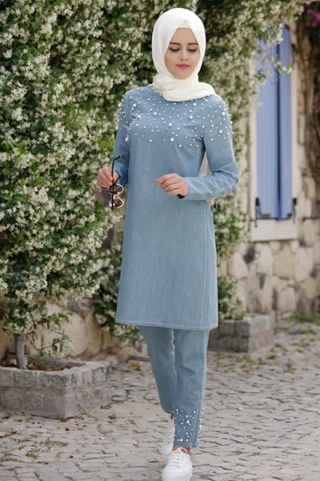 Piennar Açık Mavi İncili Tensel Kot Tunik & Pantolon İkili Takım