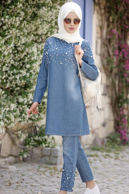 Piennar Koyu Mavi İncili Tensel Kot Tunik & Pantolon İkili Takım