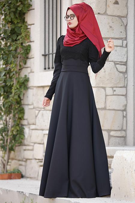 Piennar Siyah Dantelli Elbise