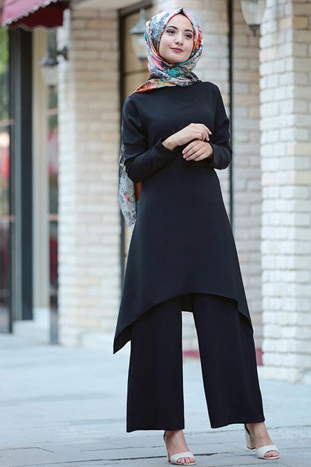 Puqqa Siyah Destina Tunik & Pantolon İkili Takım