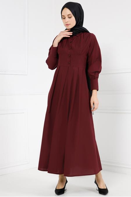 Refka Bordo Drape Detaylı Elbise