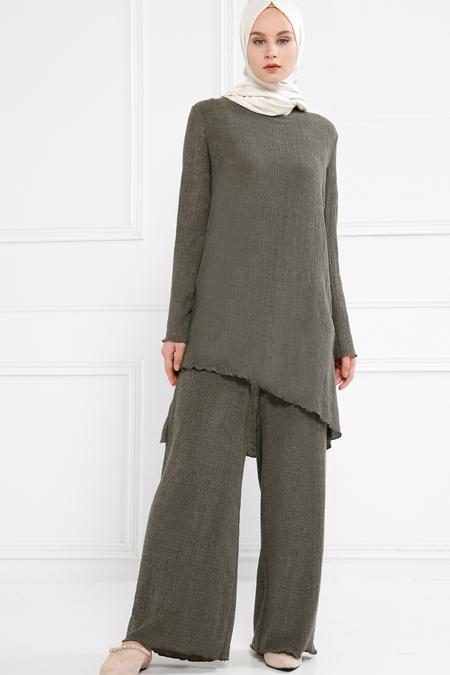 Refka Haki Tunik & Pantolon İkili Takım