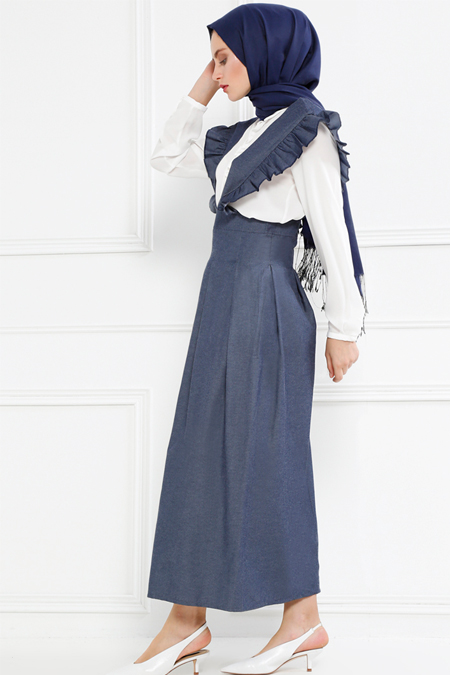 Refka Koyu Gri Salopet Elbise