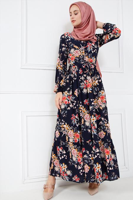 Refka Lacivert Brit Detaylı Desenli Elbise