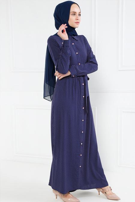 Refka Lacivert Doğal Kumaşlı Puantiyeli Elbise