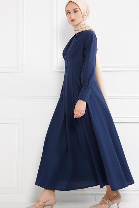 Refka Lacivert Drape Detaylı Elbise