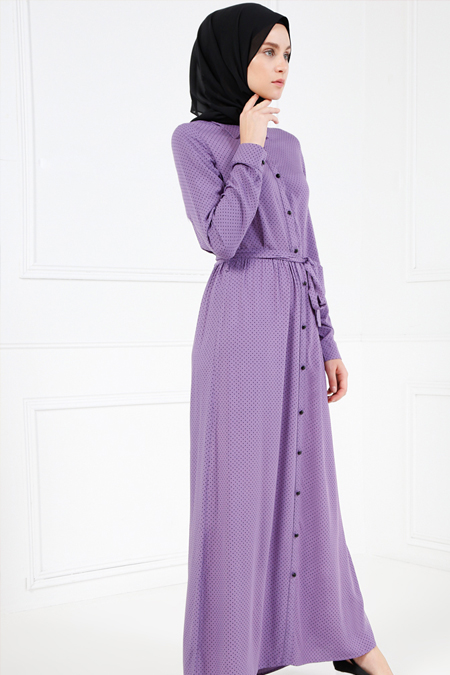 Refka Lila Doğal Kumaşlı Puantiyeli Elbise