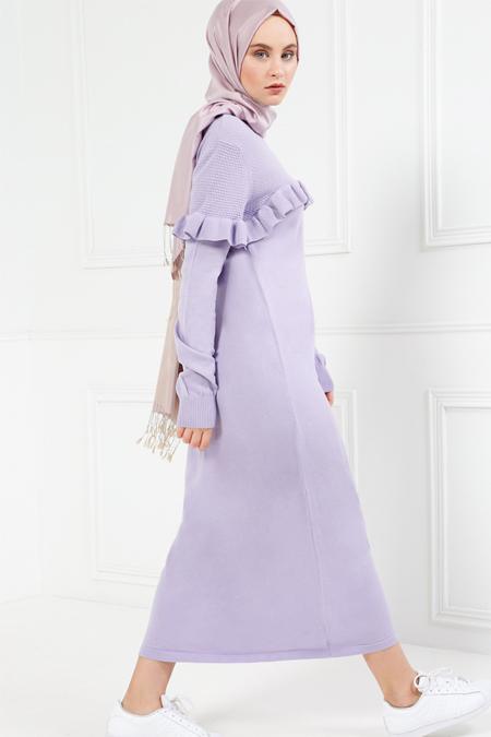 Refka Lila Triko Elbise