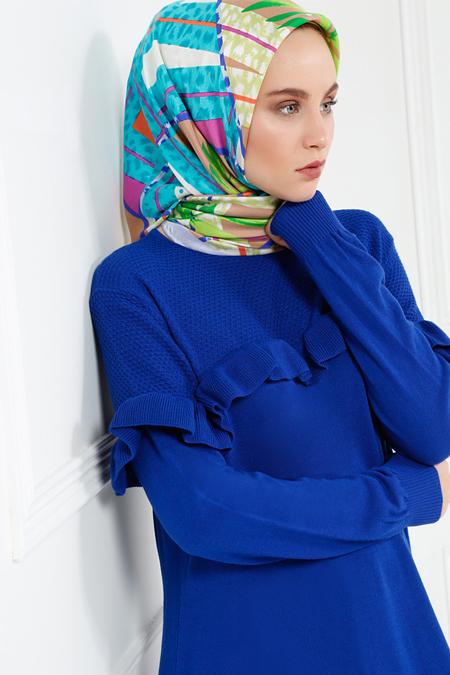 Refka Mavi Triko Elbise