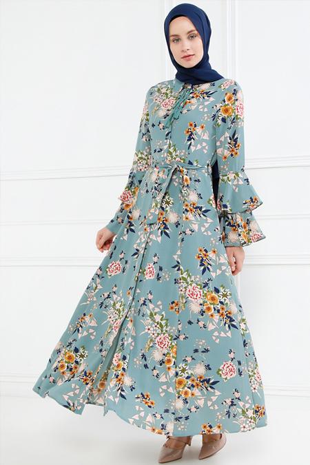 Refka Petrol Çiçek Desenli Elbise