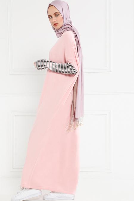 Refka Pudra Çizgili Triko Elbise