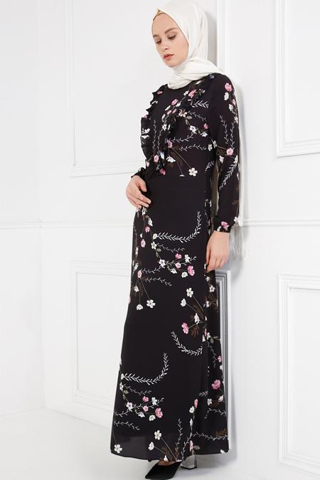 Refka Siyah Desenli Elbise