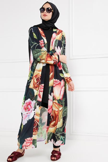 Refka Siyah Desenli Kimono