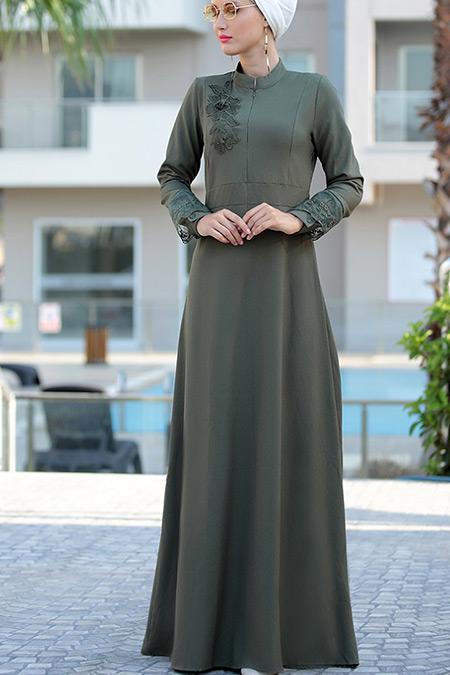 Selma Sarı Design Haki Canel Dantel Elbise