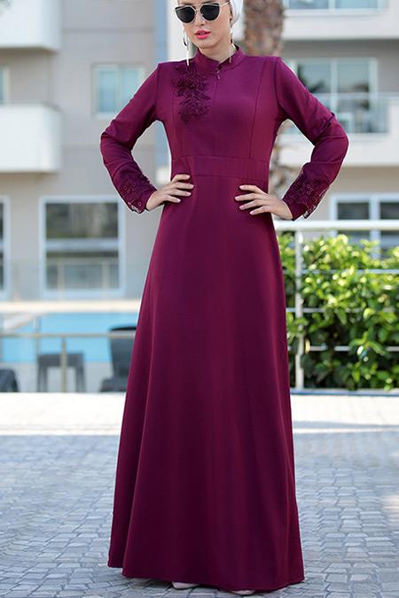 Selma Sarı Design Mürdüm Canel Dantel Elbise