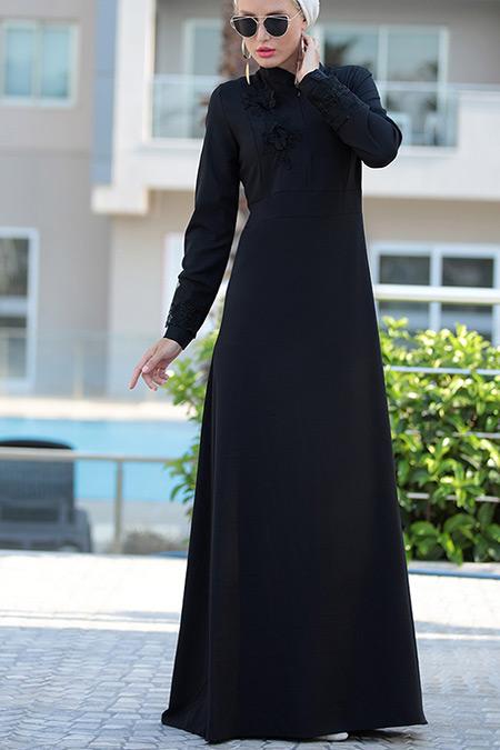 Selma Sarı Design Siyah Canel Dantel Elbise